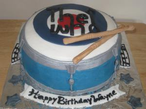Drum cake with The Who logo